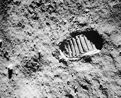 1960s Footprint Of First Step On Moons Poster