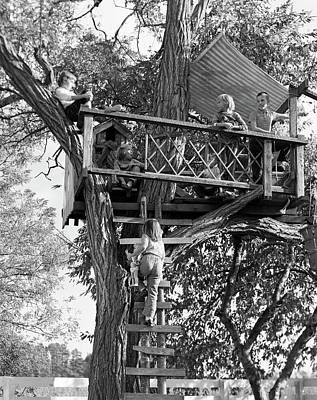 1960s Kids Playing In Tree House Poster