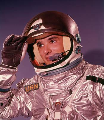 1960s Man Astronaut Lifting Up Visor Poster