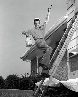 1960s Man Falling Off Of Ladder While Poster