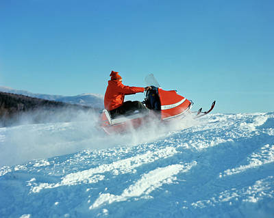 1960s Man Riding Snowmobile Up Hill Poster