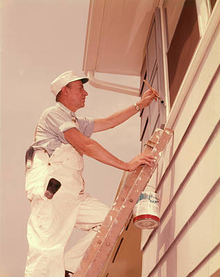 1960s Man Up Ladder Painting Window Poster