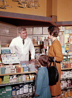 1960s Mother And Daughter In Pharmacy Poster