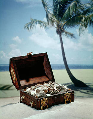 1960s Pirate Treasure Chest Full Coins Poster