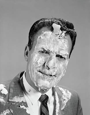 1960s Portrait Man Covered In Meringue Poster