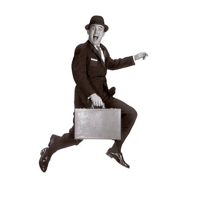 1960s Salesman Leaping In Air Holding Poster