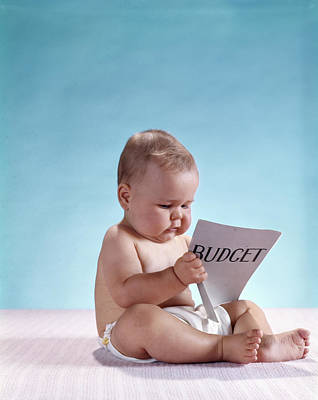 1960s Serious Baby Sitting Reading Poster