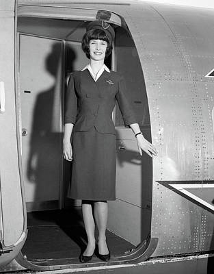 1960s Smiling Stewardess Standing Poster
