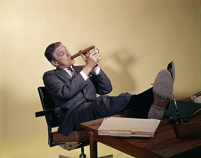 1960s Successful Businessman Sitting Poster