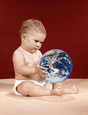 1960s Symbolic Ecology Serious Baby Poster