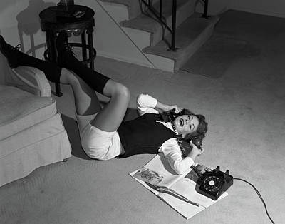 1960s Teenage Girl Lying On Floor Wear Poster