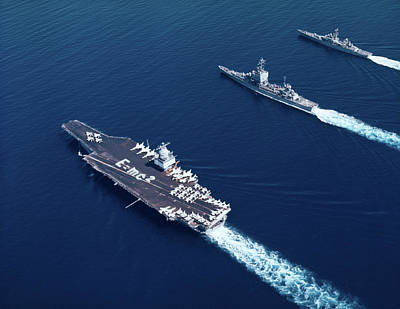1960s Three Naval Ships On Parallel Poster