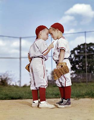 1960s Two Boys Wearing Little League Poster