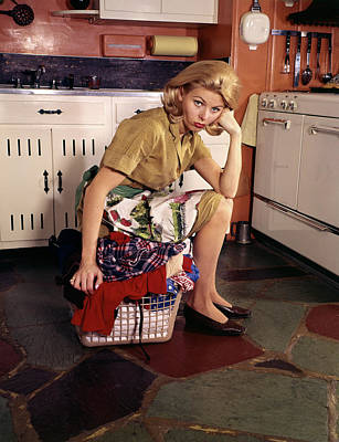 1960s Weary Dejected Woman Housewife Poster