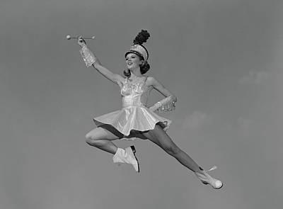 1960s Woman Majorette Holding Baton Poster