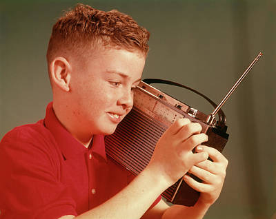 1960s Young Preteen Boy Listening Poster