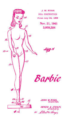 1961 Barbie Doll Patent Art 3 Poster by Nishanth Gopinathan