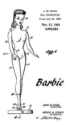 1961 Barbie Doll Patent Art 4 Poster