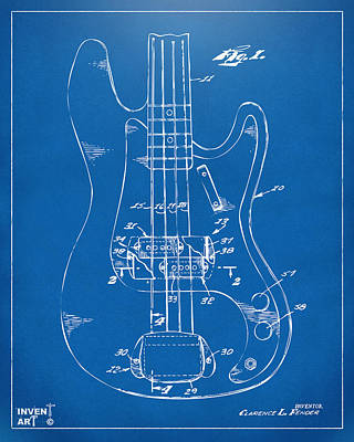 1961 Fender Guitar Patent Minimal - Blueprint Poster by Nikki Marie Smith