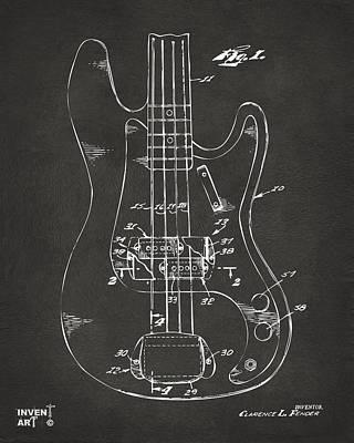 1961 Fender Guitar Patent Minimal - Gray Poster
