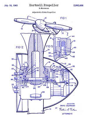 1961 Hartzell Propeller Blueprint Poster by Jon Neidert