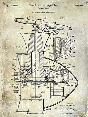 1961 Hartzell Propeller Patent Blueprint Poster by Jon Neidert