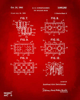 1961 Lego Brick Patent Art Red Poster by Nikki Marie Smith