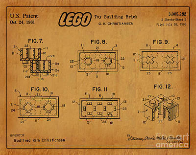 1961 Lego Building Blocks Patent Art 6 Poster