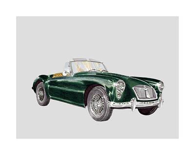 1961 M G A Green Poster