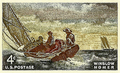 1962 Winslow Homer Postage Stamp Poster by David Patterson