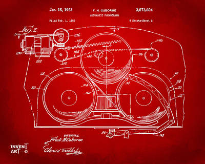 1963 Automatic Phonograph Jukebox Patent Artwork Red Poster by Nikki Marie Smith