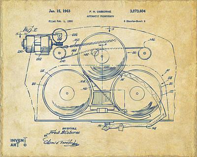 1963 Automatic Phonograph Jukebox Patent Artwork Vintage Poster