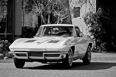 1963 Chevrolet Corvette Split Window -015bw Poster by Jill Reger