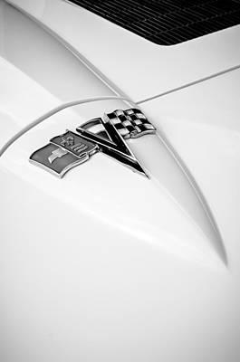1963 Chevrolet Corvette Split Window Emblem -121bw Poster by Jill Reger