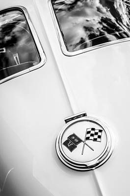 1963 Chevrolet Corvette Split Window Emblem -445bw Poster by Jill Reger
