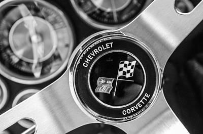 1963 Chevrolet Corvette Split Window Steering Wheel Emblem -170bw Poster by Jill Reger