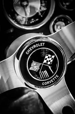 1963 Chevrolet Corvette Split Window Steering Wheel Emblem -309bw Poster by Jill Reger
