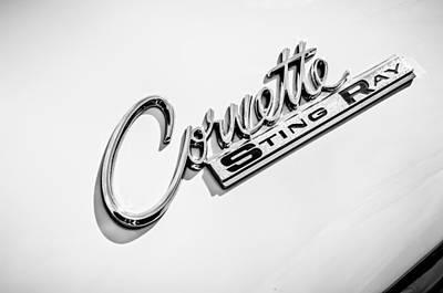 1963 Chevrolet Corvette Split Window - Sting Ray Emblem -248bw Poster by Jill Reger