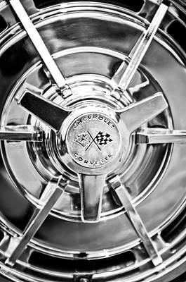 1963 Chevrolet Corvette Split Window Wheel -111bw Poster by Jill Reger
