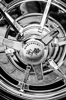 1963 Chevrolet Corvette Split Window Wheel Emblem -478bw Poster by Jill Reger