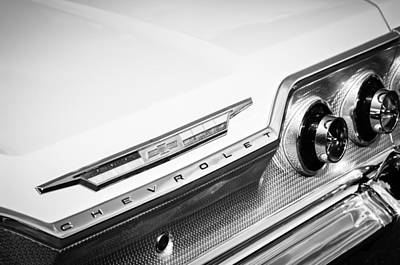 1963 Chevrolet Impala Taillight Emblem -0758bw Poster by Jill Reger