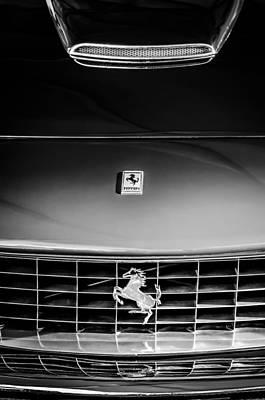 1963 Ferrari 250 Gt Lusso Grille Emblem -0824bw Poster by Jill Reger