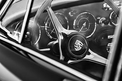 1963 Porsche 356 B 1600 Coupe Steering Wheel Emblem Poster by Jill Reger