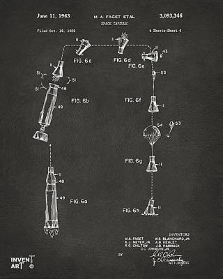 1963 Space Capsule Patent Gray Poster by Nikki Marie Smith