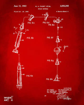 1963 Space Capsule Patent Red Poster by Nikki Marie Smith