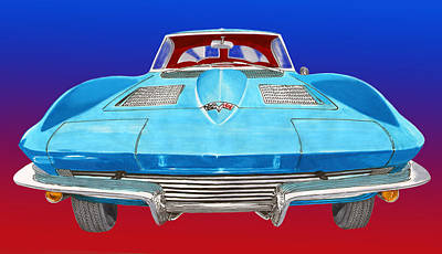 1963 Split Window Corvette Front Poster by Jack Pumphrey