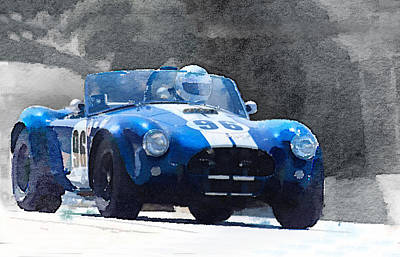 1964 Ac Cobra Shelby Racing Watercolor Poster by Naxart Studio