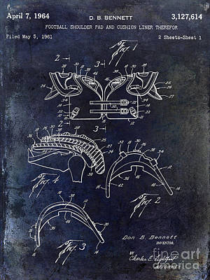1964 Football Shoulder Pads Patent Blue Poster by Jon Neidert