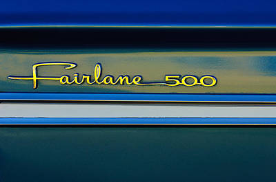 1964 Ford Fairlane 500 Emblem Poster by Jill Reger