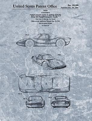 1964 Porsche Patent Blue Poster